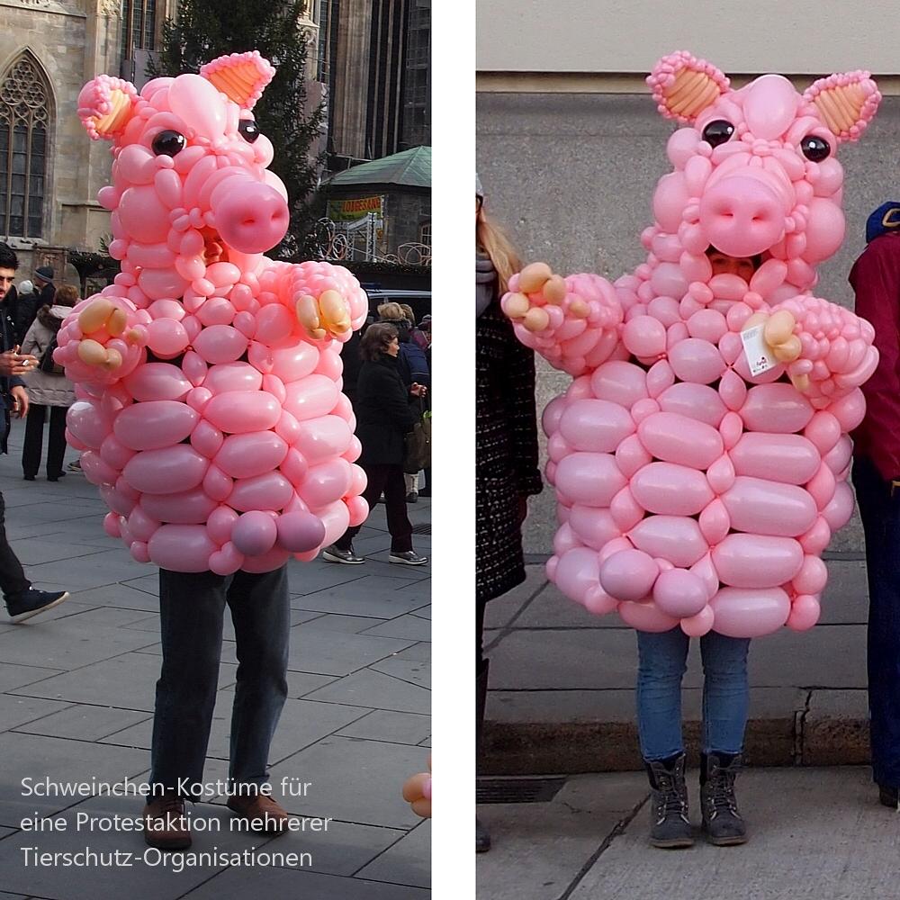 Schweinchen-Kostüme aus Luftballons